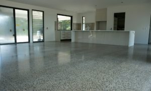 Functional, durable polished concrete for this Mapleton home - Entire main house plus separate guest wing concrete mechanically polished to 400 grit lower gloss level.