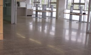 HiPERFLOOR-Commercial low gloss spec to common area lift foyers over 3 levels plus cafeteria - University Of Qld Gatton Campus