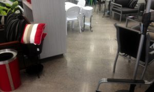 Hiperfloor commercial 400 grit polished concrete selected for Outdoor Furniture Specialists retail Maroochydore Qld